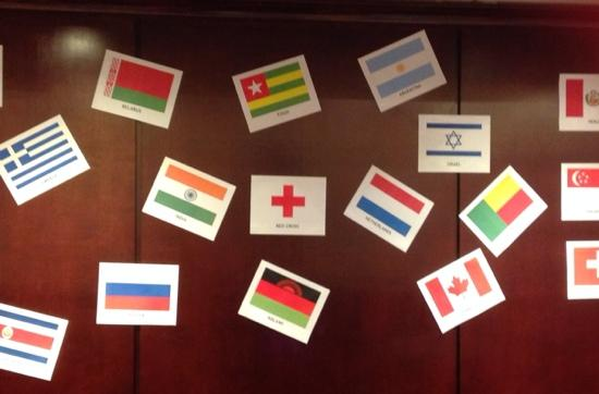 Doubletree by Hilton Charlottesville: Reception area decorated for our international guests! Thank you!