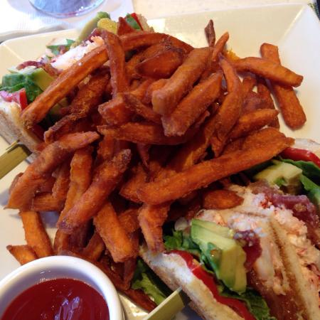 Mariposa: Lobster sandwich with sweet potato fries