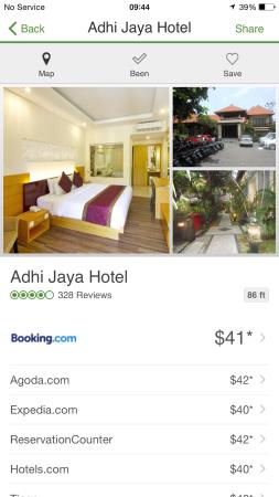 Adhi Jaya Hotel: pay $40USD!!! I was screwed and paid almost $120USD AT THE FRONT DESK! 30min later they wouldn't