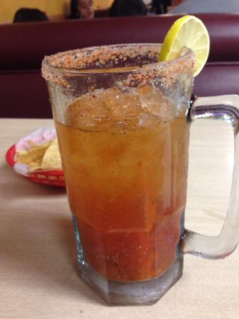 Belinda's Authentic Mexican : Huge Michelada and spicy
