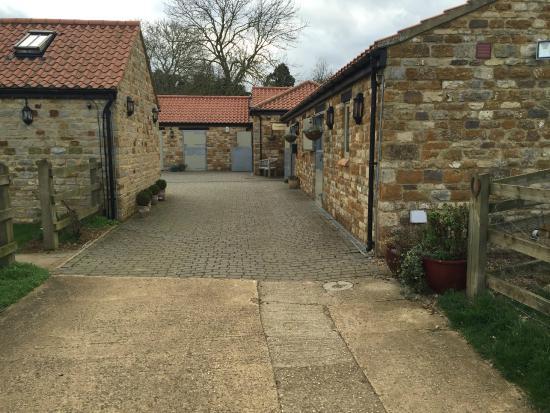 Homefield Grange Retreat: View up to reception