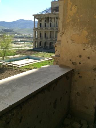 Darul Aman Palace: View from the second floor out the front to the fountain pool