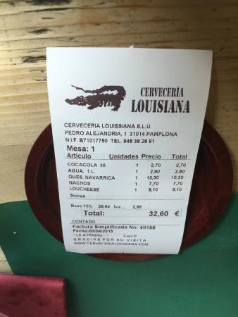 Cerveceria Louisiana: Factura simplificada de comida para dos con entrante, coca-cola, agua y un plato cada uno.