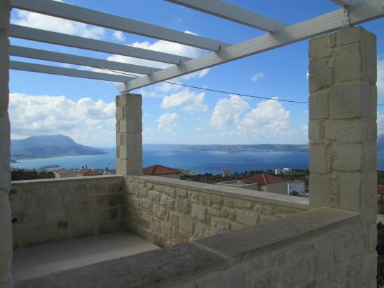 St. George's Retreat Village: View over Souda Bay from bedroom terrace
