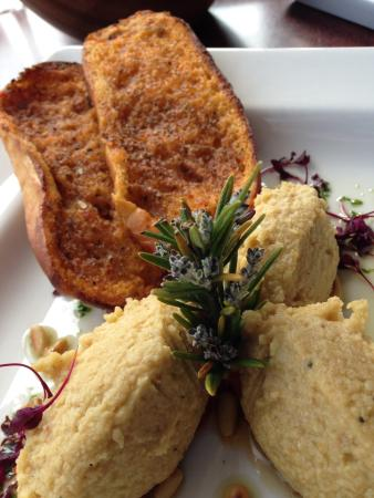 Taylor's Restaurant: Hummus on sweet roasted Peppers with Tomato & Basil Toasts, roasted Pine Nuts & Olive Oil