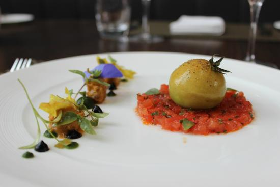 La Belle Epoque: Heirloom tomato tartare with tomato and basil mousse, aged balsamic vinegar