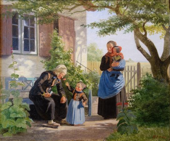 The Hirschsprung Collection (Den Hirschsprungske Samling): Julius Exner: A little Girl lets an Old Man sniff a Flower