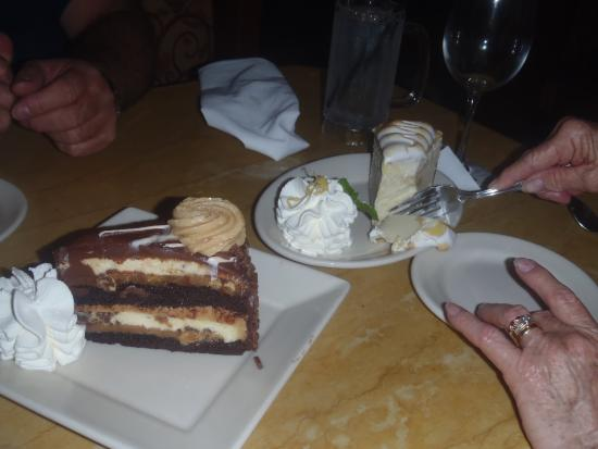 The Cheesecake Factory: Reese's Chocolate Peanut Butter and Caramel Cheesecake and Lemon Meringue Cheesecake