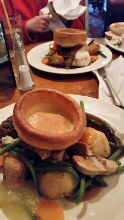 Sunday Roast, topped with a Yorkshire pudding