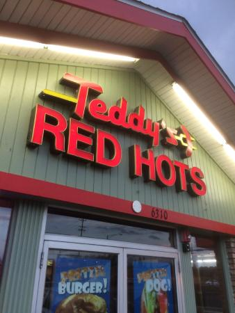 Teddy's Red Hots: Outside sign