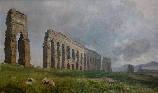The Hirschsprung Collection (Den Hirschsprungske Samling): Janus la Cour: The Aqua Claudia. Aqueduct in the Roman Campagna