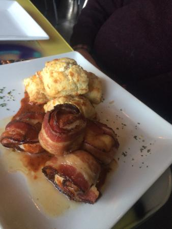 Father Fats: Bacon Wrapped Scallops with Cheddar Biscuits and BBQ Sauce