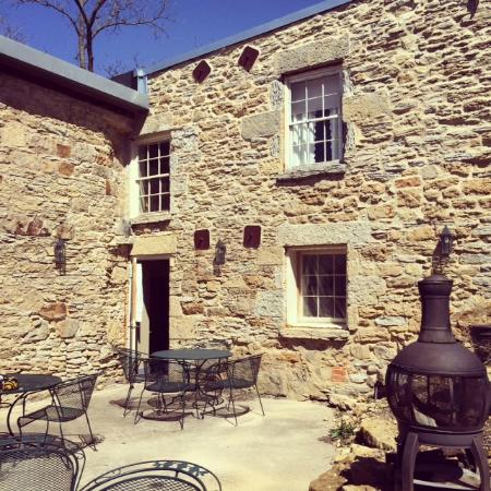 The Walker House: Shared courtyard behind building