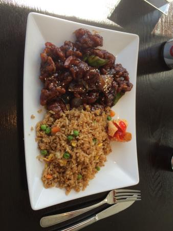 Exclamation Restaurant: Orange chicken lunch plate