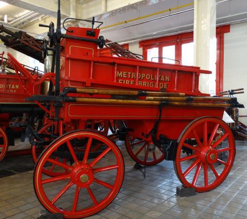 The London Fire Brigade Museum: MFB manual fire engine.