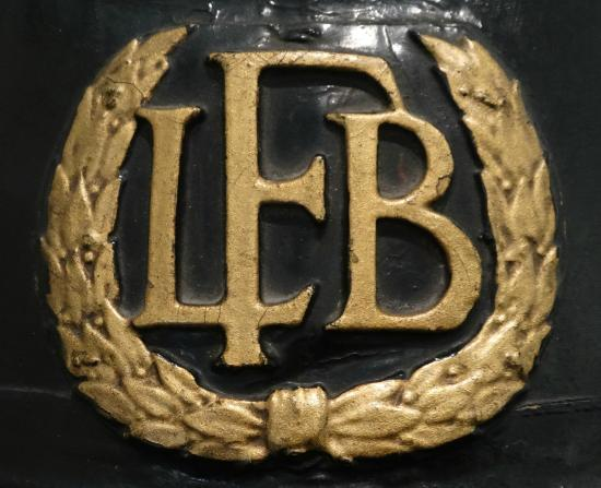 The London Fire Brigade Museum : LFB helmet crest.