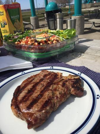 Heritage Landing : Lovely steak grilled on a beautiful sunny Sunday