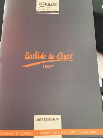 Bastide du Cours: The menu