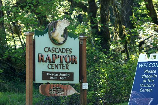 Cascades Raptor Center: This is the sign at the turn-in to the Raptor Center