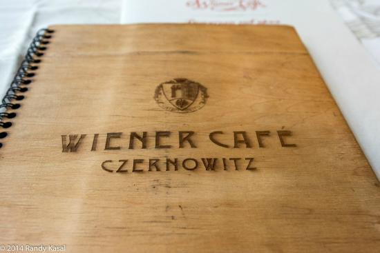Videnska Kavyarnya: Menu is wood covered
