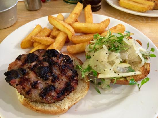 The Rheged Centre: Pork and black pudding burger with apple 'slaw served in a brioche bun with chunky potato chips.