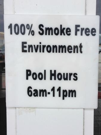Beach House Inn: This is a farce. Smoking is allowed all over the property and they won't do anything about it.
