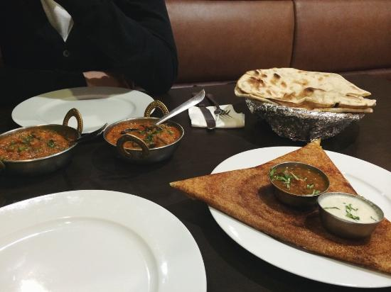 Ganesha Authentic Indian Cuisine: Dosa as a main course, and two half-portion curries with roti