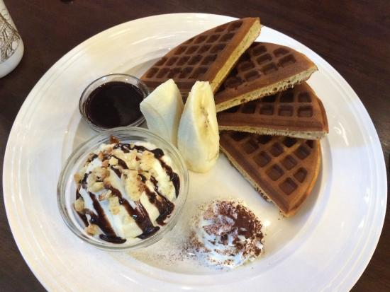 Just Want Coffee, The Factory: Chocolate banana waffle with vanilla ice-cream