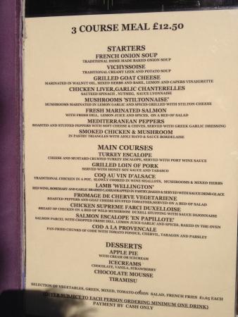 Le menu picture of the little french restaurant london for Restaurant le jardin neufchatel menus
