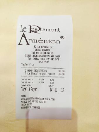 Le Restaurant Armenien : Счет
