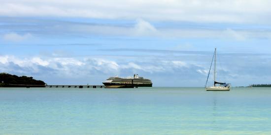 View of cruise ship from Kuto Bay