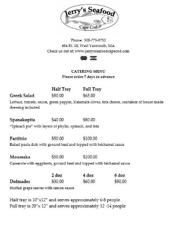 Jerry's Seafood & Dairy Freeze: Catering Menu