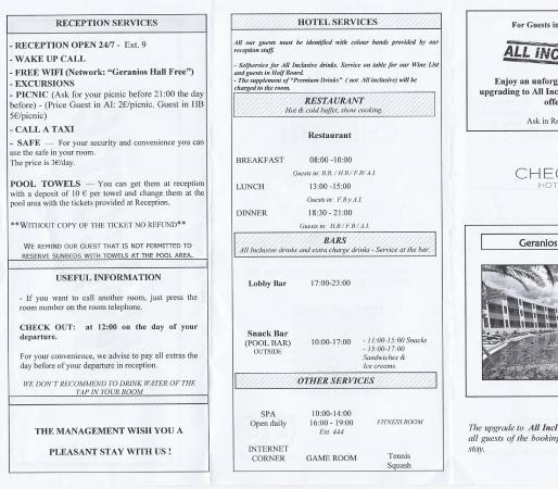 Geranios Suites & Spa: Hotel Welcome Info