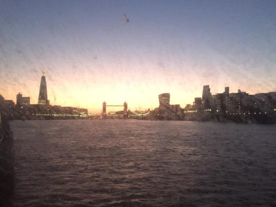 London Showboat: Tower Bridge, The Shard and the Walkie Talkie building as seen from the deck of the boat