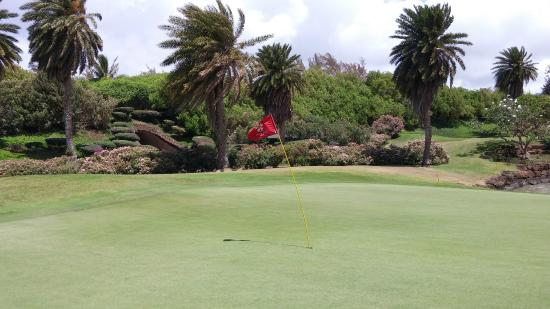 Poipu Bay Resort Golf Course: The flagstick approached 45 degrees in the wind