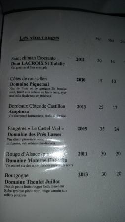 Chez Auguste : la carte des vins