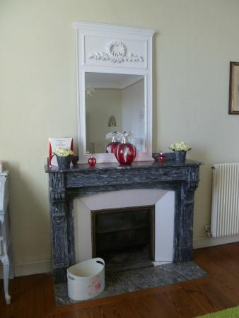 Chateau Coquelicot: cheminée de la chambre