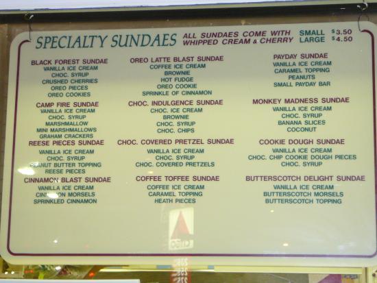 Squire's Dairy Delight: menu