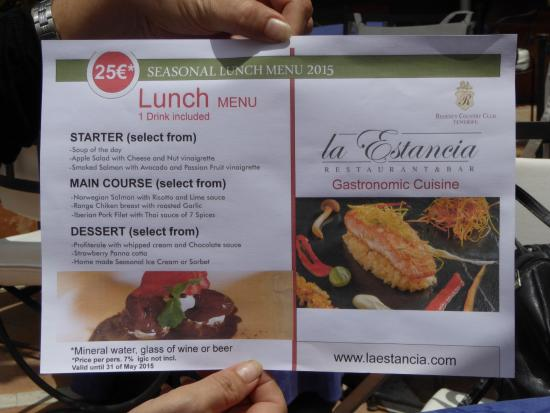 La Estancia: lunch menu