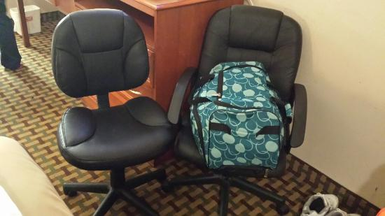 Econo Lodge: I still can't figure out the 2 office chair deal, but we used it as a luggage holder.