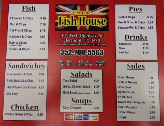 Menu picture of clermont fish house clermont tripadvisor for The fish house menu