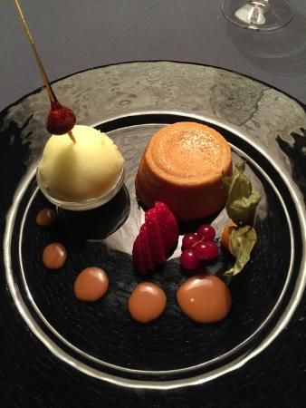 Restaurant l'Escarbot : Moelleux au caramel et son sorbet au limoncello