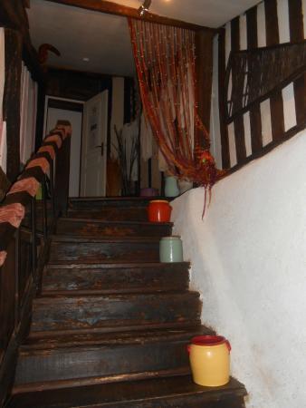 Le Colombier de Cyrano et Roxane: le charme des escaliers pour accéder au hamac..