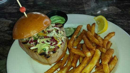 Seared ahi tuna sandwich with fries - Picture of Sunset Grille, Ocean ...