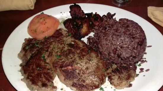 "Las Vegas Cuban Cuisine : Ribeye Steak with ""moro"" style rice & beans"