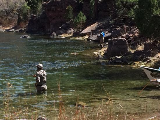 Trout Creek Flies and Green River Outfitters - Day Trips: Fishing from the bank while burgers are grilling!