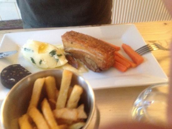 Compton Abdale, UK: Pork Belly main course with the best chips ever!