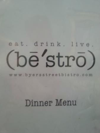 Byers Street Bistro : Menu
