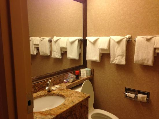 Comfort Inn Pocono Lakes Region: Clean with plenty of towels, small vanity area