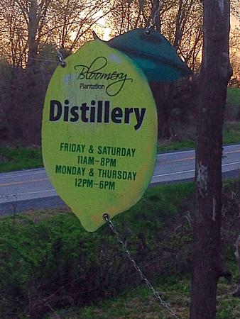 Bloomery Plantation Distillery: The sign to look for...